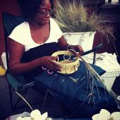 Handcrafting a sweet grass basket