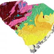 South Carolina geology and topography map