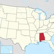 Map of USA showing location of Alabama