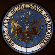 Arkansas state seal at Capitol Building in Little Rock