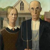 American Gothic painting by Grant Wood, native Iowan artist
