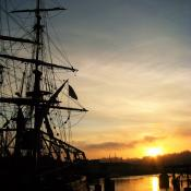 Sunset behind the Lady Washington in Aberdeen, WA 2009
