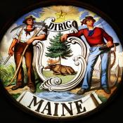Maine coat of arms in stained glass