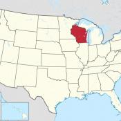 The state of Wisconsin on map of USA