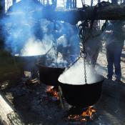 Traditional maple syrup production in Maine