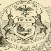 Historic sketch of Michigan coat of arms