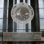 North Dakota state seal at the capitol in Bismarck, North Dakota