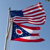 Ohio  and U.S. flag waving