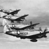 WWII fighter squadron flying P-47 Thunderbolts