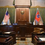 Tennessee Senate with state and national flags