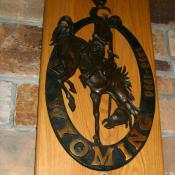 Bucking Horse and Rider plaque at Jackson Lake Lodge, Grand Teton National Park, Wyoming
