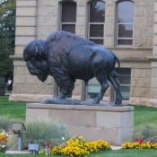 Bison sculpture at Wyoming State Capitol in Cheyenne, Wyoming