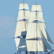 Tall ship Niagara under full sails on Lake Erie