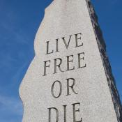 Live Free or Die granite monument in Nashua, New Hampshire
