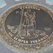 Rendering of Virginia state seal at Capital Square in Richmond, VA