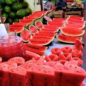 Watermelons in market