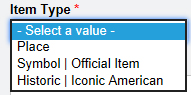Item Types; Place, Symbol, or Historic American