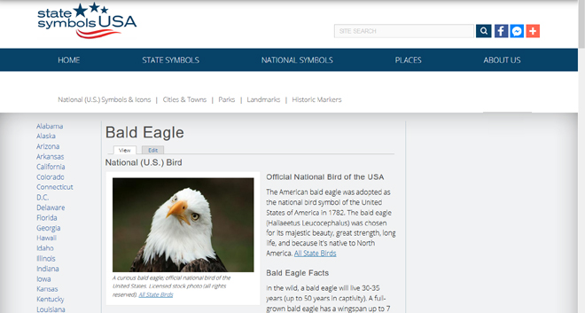 Example page - Bald Eagle