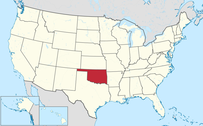 the state of oklahoma in the united states of america oklahoma population map