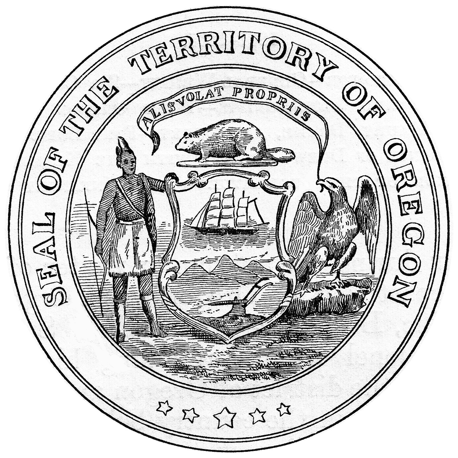 oregon state motto she flies with her own wings Massachusetts State Cat territorial seal of oregon