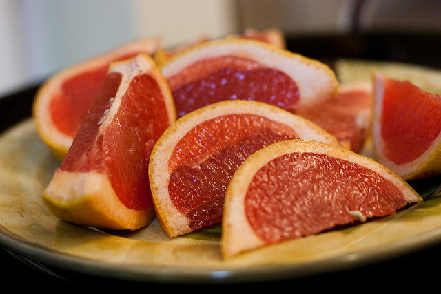 ruby red grapefruit slices
